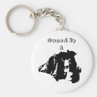 Poseído por un perro lindo del border collie llavero redondo tipo pin