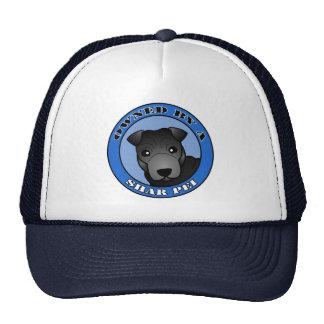 Poseído por un Shar Pei - capa negra - azul Gorras De Camionero