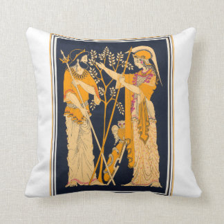 Poseidon and Athena Throw Pillow