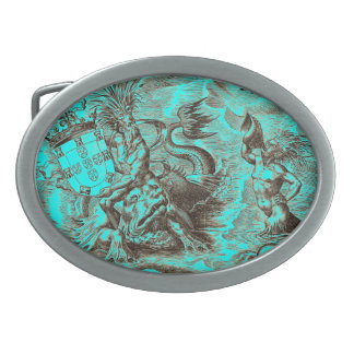 Poseidon and Dolphin World Map Oval Belt Buckle