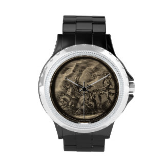 Poseidon and His Sea Horse Driven Chariot Wrist Watch