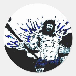 Poseidon! Dark black and blue Classic Round Sticker