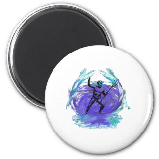 Poseidon God of the Sea 1 2 Inch Round Magnet