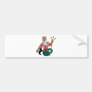 Poseidon, Greek God of the Sea Holding Trident Car Bumper Sticker