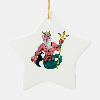 Poseidon, Greek God of the Sea Holding Trident Ceramic Ornament