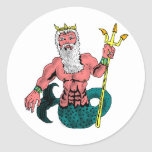 Poseidon, Greek God of the Sea Holding Trident Classic Round Sticker