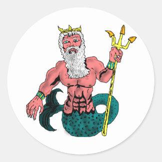 Poseidon, Greek God of the Sea Holding Trident Classic Round Sticker