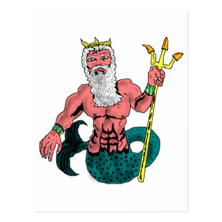 Poseidon, Greek God of the Sea Holding Trident Postcard