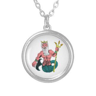 Poseidon, Greek God of the Sea Holding Trident Silver Plated Necklace