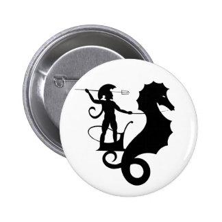 Poseidon, Greek relief design 2 Inch Round Button
