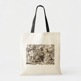 Poseidon Riding Dolphin World Map Tote Bag