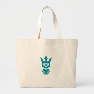 Poseidon Skull Wearing Crown Icon Large Tote Bag