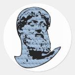 Poseidon statue round stickers