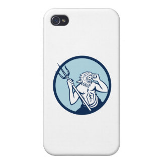 Poseidon Trident Circle Retro iPhone 4 Covers