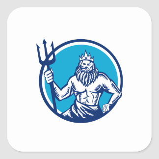 Poseidon Trident Circle Woodcut Square Sticker