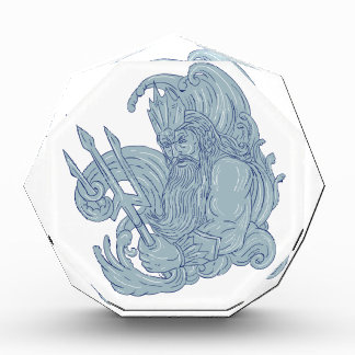 Poseidon Trident Waves Drawing Acrylic Award