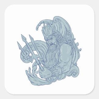 Poseidon Trident Waves Drawing Square Sticker