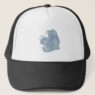 Poseidon Trident Waves Drawing Trucker Hat