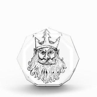 Poseidon Wearing Trident Crown Woodcut Award