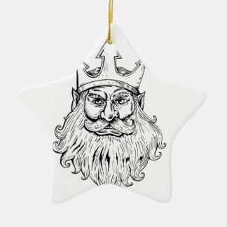 Poseidon Wearing Trident Crown Woodcut Ceramic Ornament