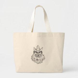 Poseidon Wearing Trident Crown Woodcut Large Tote Bag
