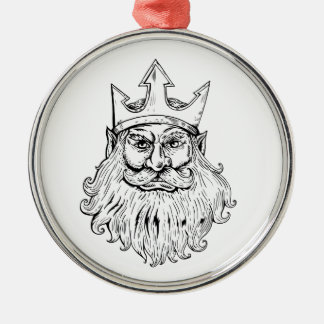 Poseidon Wearing Trident Crown Woodcut Metal Ornament