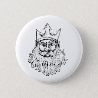Poseidon Wearing Trident Crown Woodcut Pinback Button