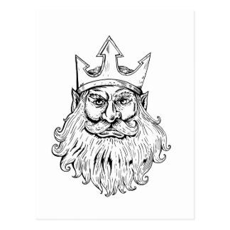 Poseidon Wearing Trident Crown Woodcut Postcard
