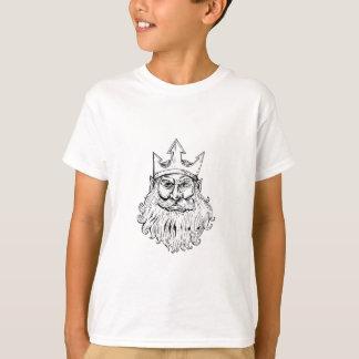 Poseidon Wearing Trident Crown Woodcut T-Shirt
