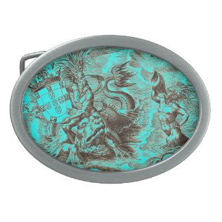 Poseidon World Map Oval Belt Buckle