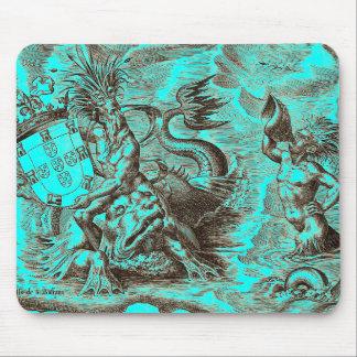 Poseidon World Map Mouse Pad