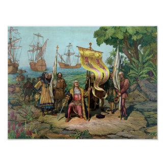 Posesión que toma de Columbus del nuevo país Póster