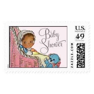 Posey Pram Brown Skin Baby Stamp by Loralee Lewis