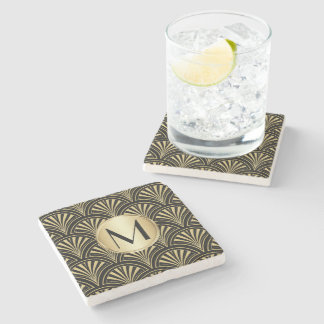 Posh Black and Gold Deco Fans Monogrammed Stone Beverage Coaster