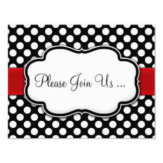 Posh Black and White Polka Dot Invitations