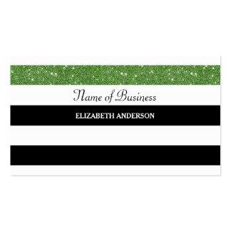 Posh Black and White Stripes Green FAUX Glitz Business Card