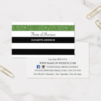 Posh Black and White Stripes Green FAUX Glitz Business Card
