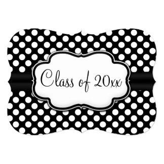 "Posh Black White Polka Dot Graduation/Party 5"" X 7"" Invitation Card"