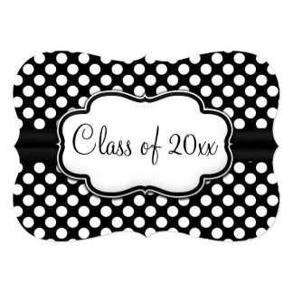 Posh Black White Polka Dot Graduation/Party 5x7 Paper Invitation Card