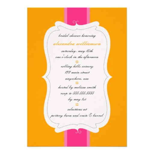 Posh Bridal Shower Invitation {Orange & Pink}