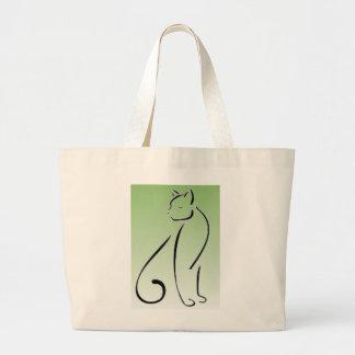 Posh Cat Jumbo Tote Bag - Green Background