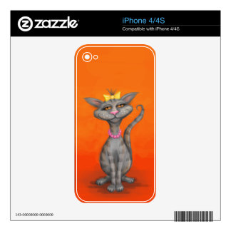 Posh Cat with Pearl Necklace Decal For The iPhone 4S