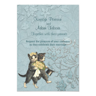 Posh Cats Aqua Blue Wedding  ver 2 Invitation