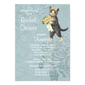 Posh Cats Blue Bridal Shower Invitation