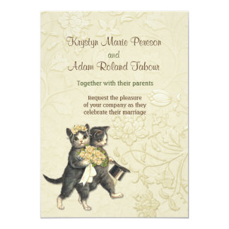 Posh Cats Ivory Wedding Invitation