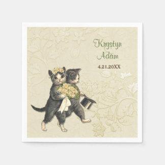 Posh Cats Wedding 2 Ivory Paper Napkins