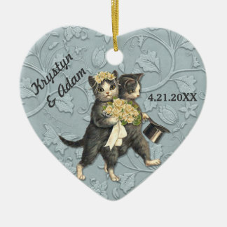 Posh Cats Wedding Blue Double-Sided Heart Ceramic Christmas Ornament