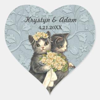 Posh Cats Wedding Blue Heart Sticker