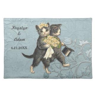 Posh Cats Wedding Blue Placemat