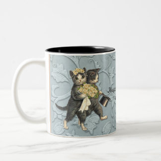 Posh Cats Wedding Blue Two-Tone Coffee Mug